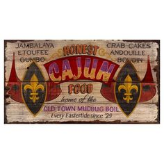 Cajun Food Wall Art from the Red Horse Signs event at Joss and Main! I have a friend who would love this.
