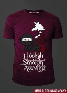 """Hookah Smokin Ass Ninja in Heather Plum. 100% Cotton - Spring 2013 release. Only 150 shirts will be made in this color. """"We Define Exclusivity"""" Once out of Stock there will be no RE-Stocks.. go to www.ninjaclothingco.com and enter in your name and email for ALERTS on Spring Launch/Release!!!"""