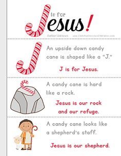 J is for Jesus Candy Cane Bible Lesson for Kids. Free printbles, coloring page and candy cane minibook.great for take home treats for Sunday School Christmas Bible, Christmas Program, Preschool Christmas, Christmas Ideas, Christian Christmas Crafts, Christmas Parties, Christmas Nativity, Christmas Activities, Christmas Printables