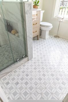 Marble mosaic tile in small bathroom Marble Mosaic, Mosaic Tiles, Shower Installation, Large Format Tile, Wood Vanity, Amazing Bathrooms, Diy Woodworking, Home Projects, Small Bathroom