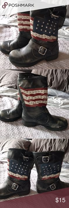Distressed look moto boots with American flag These boots are just polyurethane, not leather. Cute studded American flags and belt details on them. The distressed look is how they came, but they might be slightly more distressed now than originally on the insteps. Worn just a few times, still in great shape. Shoes Combat & Moto Boots