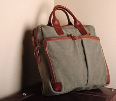 Cow Leather bag /canvas Briefcase / leather CANVAS by Commandery, $49.90