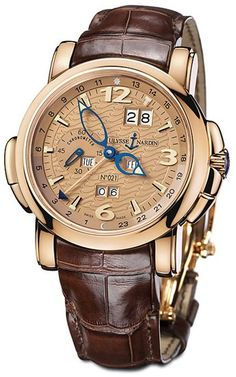 Ulysse Nardin GMT Perpetual Copper Dial Leather Strap Automatic Mens Watch 322-66
