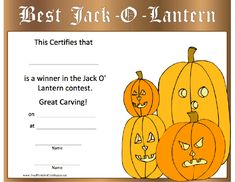 Printable pumpkin carving awards pumpkin contest free smiling and spooky pumpkins announce the winner of your jack o lantern carving contest yadclub Images