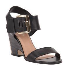 Sandália Preto de Couro com Estampa de Cobra | Verão 2015 Shoestock - Shoestock