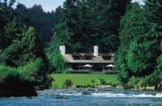 Huka Lodge Taupo New Zealand Royal Time, Taupo New Zealand, Huka Lodge, Wedding Vows To Husband, Visit New Zealand, Royal Residence, River Bank, Grand Entrance, Honeymoon Destinations