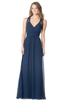 Bari Jay. V-Neck chiffon gown with lace bodice panels and open keyhole back.