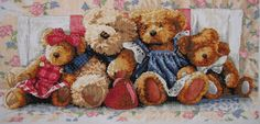 New Finished Completed Cross Stitch - Bears - Bear family - 9315 - 14CT