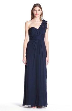 Amsale Navy Illusion Shoulder Crinkled Silk Chiffon Dress Item #925584 Dress