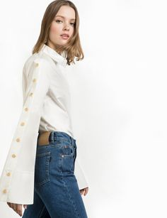 White Snap Button Wide Sleeve Shirt