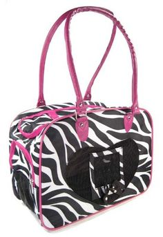 Purse Style Nylon Zebra Pet Carrier with Pink Trim for Dogs, Puppies, Cats, Kittens, and more -- Remarkable product available now. : Products for dogs