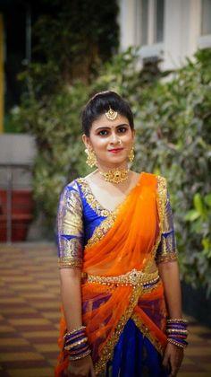 Half sarees Pattu Saree Blouse Designs, Half Saree Designs, Lehenga Designs, Half Saree Lehenga, Lehnga Dress, Sarees, Pink Lehenga, Indian Dresses, Indian Outfits