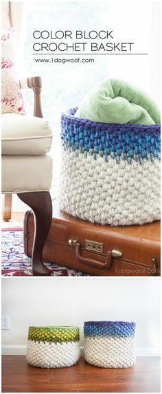 I am going to show you some #crochet #basket patterns which will increase your home décor!Color Block Crochet Basket