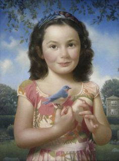 Koo Schadler, Odessa and Bluebird, egg tempera on true gesso panel, finished with oils