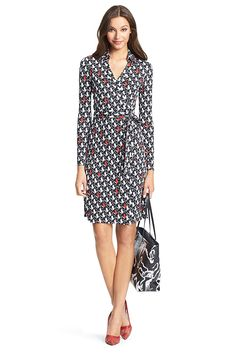 Sewing inspiration: From DVF. The New Jeanne Two wrap dress is a modern take on the timeless classic. Cross over wrap with a self-tie belt. With collar. Long sleeves. In our seasonless silk jersey. Unlined. Fit runs small.