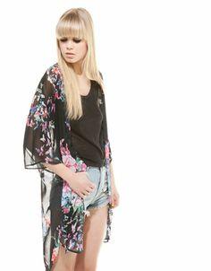 Bershka floral print kimono style blouse