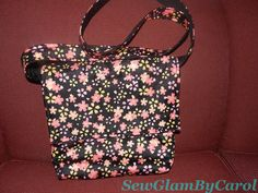 """Cherry Blossom Cross Body Bag (Pink & Black). Approx. 11.5 """" height X 11"""" width. Strap measures approx. 51"""". With 2 interior pocket. Already sold but can make a new one if someone is interested :)"""