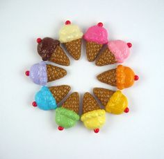 Cute ice cream cone fridge magnet  select one by lillybugboutique, $8.00