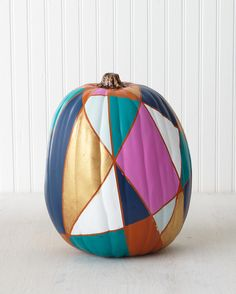 Get inspired by handmade pumpkin designs by Martha Stewart crafters and staffers using Martha Stewart Craft paints! A jewel-toned, geometric masterpiece. Carving is no longer required. Glass Pumpkins, Painted Pumpkins, Halloween Pumpkins, Halloween Diy, Halloween Tricks, Halloween Projects, Halloween Stuff, Holidays Halloween, Party