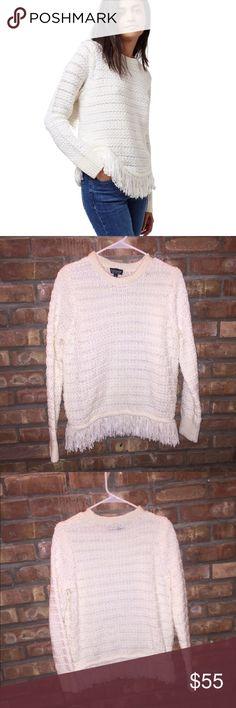 Topshop fringe sweater Topshop fringe sweater. Never worn. Topshop Sweaters Crew & Scoop Necks