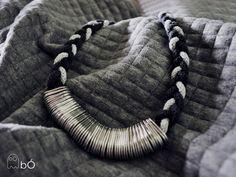 Naszyjnik warkocz szary w bÓ biżuteria na DaWanda.com