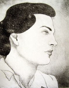 WPA Style Portrait Lithograph on Chairish.com