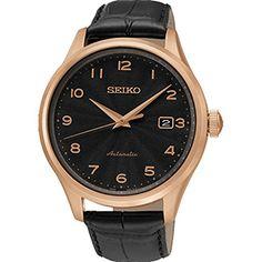 Montre Seiko Automatique pour Homme SRP706K1 - Analogique - Cadran en Acier inoxydable Doré - Bracelet en Cuir Noir - Affichage de la Date