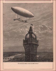 Santos Dumont flying DIRIGIBLE Airship Around EIFFEL TOWER antique 1904