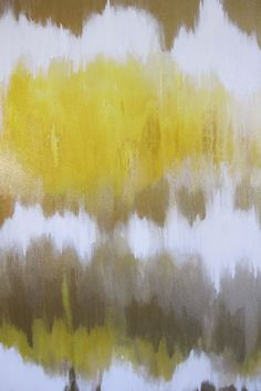 30 x 24 Abstract Painting Yellow White Gold by ArtByCornelia