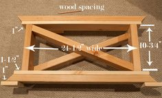Wood spacing for a 2 x 4 table base