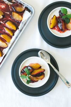 Nectarine Panna Cotta with Roasted Plums. A bright summer dessert that is gluten-free, grain-free, dairy-free and refined-sugar free. Paleo friendly.
