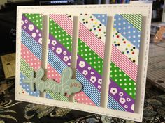 handmade thank you card ... split panel format ... panel covered with diagonal strips of washi tape before cutting ... popping up the pieces with wide splits adds extra depth ...