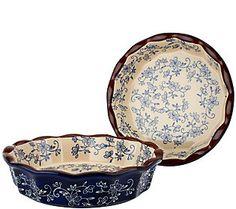 Temp-tations Floral Lace Set of 2 9 Deep Dish Pie Plates 11.2.14