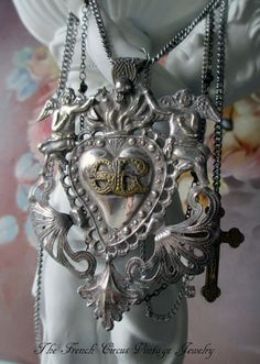 ANGELIC HEART  vintage assemblage necklace with sterling silver ex-voto sacred heart by The French Circus, $229.00