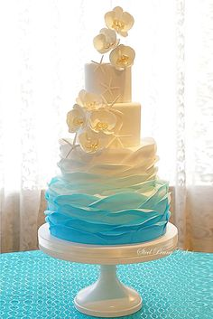 Sweet And Fun Ideas Ombre Wedding Cakes ❤ See more: http://www.weddingforward.com/ombre-wedding-cakes/ #weddings