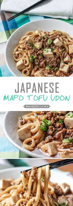 Japanese Mabo Tofu Udon Noodle Bowls - Japanese Mabo Tofu Udon Noodle Bowls - Imagine a world of salty complexity, melt-in-your-mouth tofu and those moreish udon noodles. This is what dreams are made of, ready to satisfy in minutes. Easy Weeknight Meals, Easy Meals, Japanese Udon, Japanese Dishes, Asian Recipes, Japanese Recipes, Tofu Recipes, Asian Foods, Drink Recipes