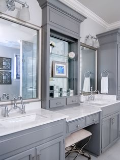 Double Vanities With Knee Hole Space Found On Houzz Com