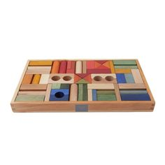 Rainbow wooden blocks - 54 pieces-product