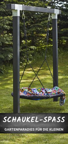 Buy wooden swing frame online - Stable swing frame for your garden. With nest swing – guaranteed swing fun for children! - Buy wooden swing frame online - Stable swing frame for your garden. With nest swing – guaranteed swing fun for children! Garden Swing Seat, Balcony Garden, Porch Swing, Garden Frame, Wooden Garden Swing, Diy Swing, Diy Garden, Wooden Swing Frame, Wooden Swings