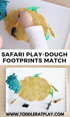 This Safari Play-dough Footprints guessing game is super quick to prep and super fun, I know for a fact your kids will looove it!  #toddlergames #safariactivity #playdough #sensoryplay Safari Animal Crafts, Animal Activities For Kids, Zoo Activities, Playdough Activities, Games For Toddlers, Summer Activities For Kids, Infant Activities, Animals For Kids, Nursery Activities
