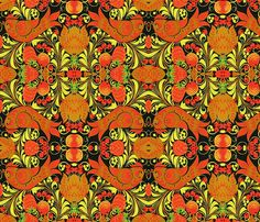 Russian khokhloma-style fabric/giftwrap for sale