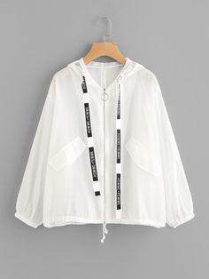 Letter Ribbon Detail Drawstring Hem Jacket Within the last 30 years, the evolution of fashion Girls Fashion Clothes, Teen Fashion Outfits, Look Fashion, Korean Fashion, Girl Fashion, Fashion Dresses, Cute Casual Outfits, Pretty Outfits, Stylish Outfits