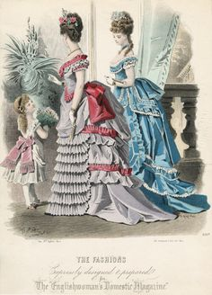January fashions for women and girls, 1874 England, The Englishwoman's Domestic Magazine