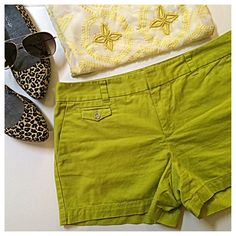 "LOFT | Lime Green Shorts Season's green-ings: These lime green shorts from Ann Taylor Loft are perfect for summer! Features pockets at both hips, two in back & a small buttoned one in front. Belt loops. Zipper, button & two hook closure in front. Overall length: 12.5"". Inseam: 3.5"". Waist: 17"" laid flat (or 34"" all around). 100% cotton; machine wash. Like-new condition! Open to offers ✌️ LOFT Shorts"