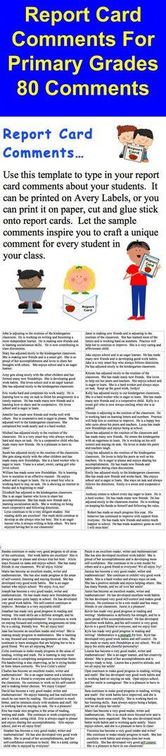 Book Report Form for and grade students Kindergarten Report Cards, Kindergarten Assessment, Kindergarten Classroom Management, Preschool Report Card Comments, Report Comments, Remarks For Report Card, Word Alternative, Behavior Report, Evaluation
