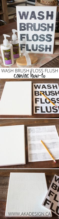 Wash brush floss flush canvas how to step-by-step from MichaelsMakers AKA Design