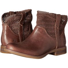Timberland Savin Hill Ankle Boot (Dark Brown) Women's Boots ($113) ❤ liked on Polyvore featuring shoes, boots, ankle booties, brown, slip on boots, brown ankle booties, short boots, slip on ankle boots and pull on boots