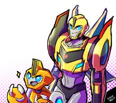 Aw, look at that! ^-^ My second-favorite Transformer overall and my favorite mini-con acting cute! *//-//*
