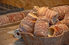 Trdlo or trdelnik - traditional national Czech sweet pastry dough, cooked on an open fire.Places to find:Prague,Budapest Slovak Recipes, Czech Recipes, Cookie Recipes, Dessert Recipes, Desserts, Eastern European Recipes, Sweet Dough, Sweet Pastries, Food Design