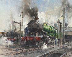 TERENCE CUNEO (1907-1996)Castle Estates Isigned and dated '.CUNEO./MAY '64' (lower left)oil on canvas24 x 30 in. (61 x 76.2 cm.) Train Drawing, Steam Railway, Train Art, Railway Posters, British Rail, Old Trains, Train Pictures, Steam Locomotive, Train Tracks